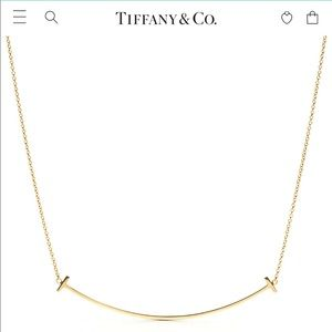 Tiffany and co 18k gold large smile necklace